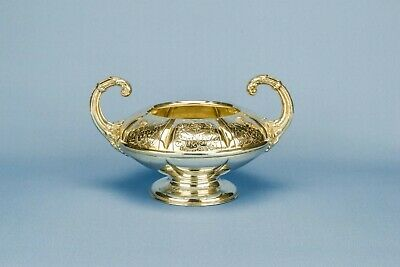 Large Silver Plated Sugar Bowl with Handles Antique English 19th Century