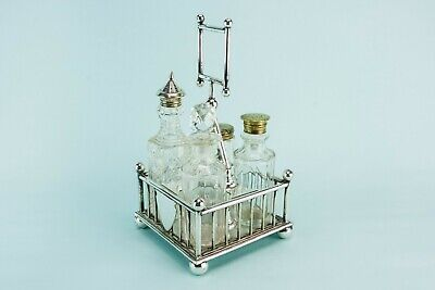 1890 Condiment Set Christopher Dresser Aesthetic Silver Plated Antique Victorian