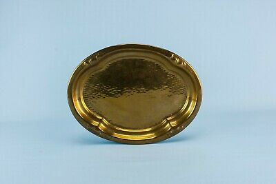 1910 Brass Tray Rustic Hammered Arts Crafts Platter Antique English Retro Oval