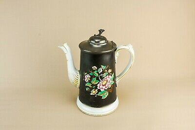 Tall Black Coffee Pot Pewter Lid Gold Painted Floral Victorian Antique 19th C