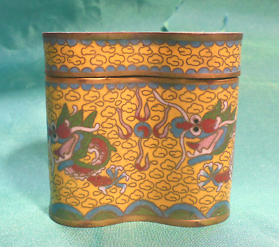 Antique Chinese Dragon Cloisonne Gold w/ Red & green Dbl Pill/Snuff Box.  VGUC
