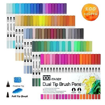 100 Colour Dual Tip Brush Pen with Fine liners Colouring Art Markers Drawing Ink