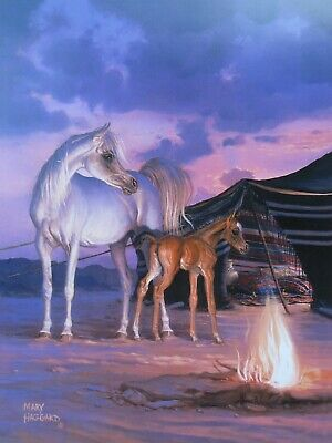Horse poster DESERT TREASURE by M Haggard, Arabian mare and foal sunset campfire