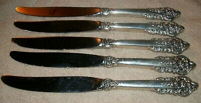 Vtg Wallace Grand Baroque Sterling Silver (5) Dinner Knives-434.3 Grams
