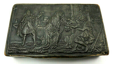 French Napoleonic Period Early 19Th C. Pressed Cow Horn Snuff Box