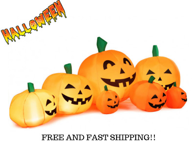 """7.5"""" Foot Halloween Inflatable Pumpkin Patch Decorations With LED Lights Yard"""