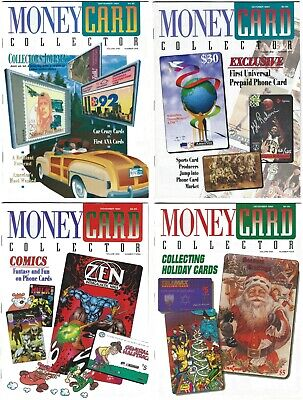1994 MONEY CARD COLLECTOR Magazines Vol. 1 No.'s 1-4 Phone Cards