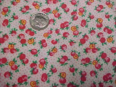 BEST Vintage Feedsack Quilt Fabric TINY Berries Fruits RED 1940s WWII Flour Sack
