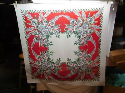 "VINTAGE 50's FLORAL TABLECLOTH 48"" X 48""   TC-#101"