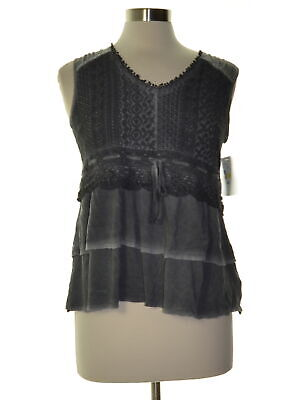 Style & Co. 8436 Petites Size PS NEW Gray Textured Pullover Top Lace-Front $79