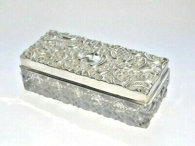 Antique Victorian Solid Silver Lid & Glass Pin Trinket Ring Box Hm Chester 1901