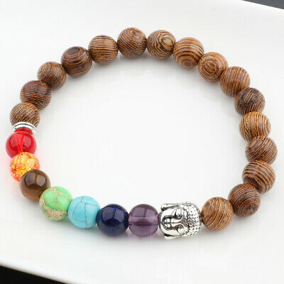 8MM Multilayer Wooden Buddha Beaded Fashion Charm Bracelets Elastic Bangle Gift