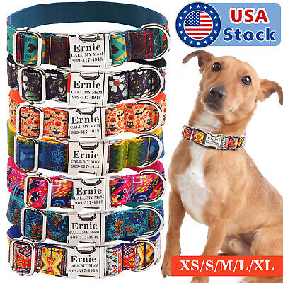 7 Cotton Personalized Dog Collar ID Tag Engraved for Small Medium Large Dog