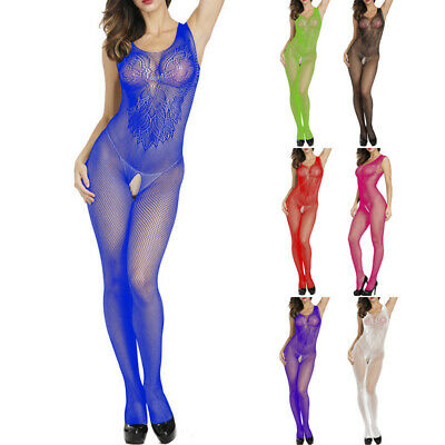 Damen Sexy Dessous Nachtclub Hohl Transparent Fischnetz Bodysuit Bodystockings
