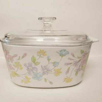 Vintage Corning Ware 3 Liter  Pastel Bouquet Casserole with Lid A-3-B