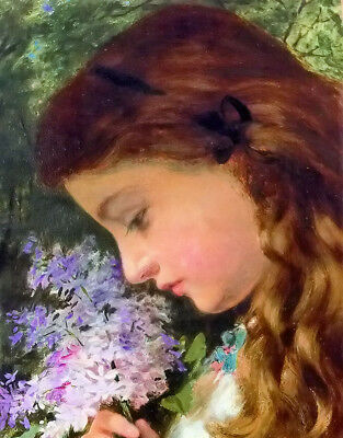 Dream-art Oil painting girl with lilacsophie in spring landscape hand painted