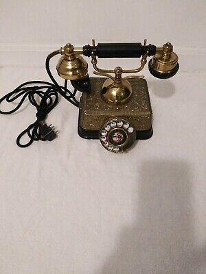 Vintage French Victorian Style Gold Brass Finish Rotary Dial Telephone Singapore