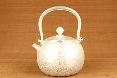 Chinese old Fine 925 silver tea pot home decoration noble gift jade bead lid