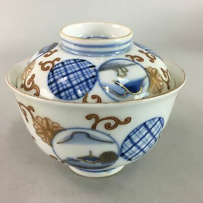 Japanese Imari Lidded Rice Bowl Antique Porcelain Sumetsuke Blue White PT764