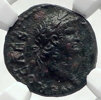 NERO Authentic Ancient 64AD Rome Genuine Semis Rare Roman Coin ROMA NGC i80518