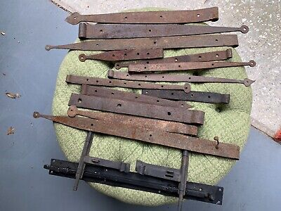 Lot of 12 Vintage Strap Barn Hinges Antique Architectural Elements Door Hinge