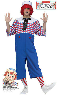ADULT MENS TRAGEDY RAGGEDY ANDY GOTHIC  EVIL DOLL FANCY DRESS HALLOWEEN COSTUME