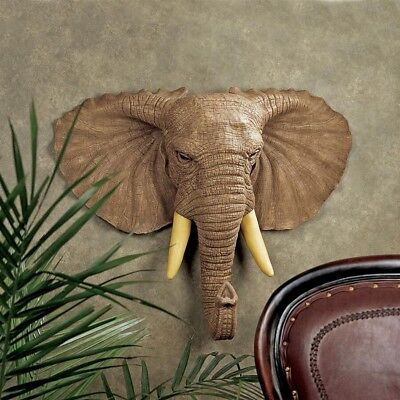 """Lord Earl Houghton's Elephant Design Toscano Exclusive 22"""" Wall Sculpture"""