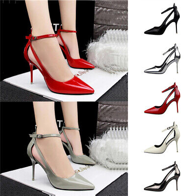 Sexy Women Ankle Strappy Hollow Out Pumps Ladies Stiletto Pointy Toe Party Shoes