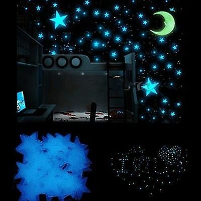 100X Glow In The Dark Stars Bedroom Room Nursery Ceiling Wall Sticker Kids Decor