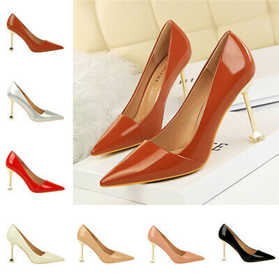Ladies Women Patent Leather High Heel Office Court Shoes Pointy Toe Bridal Pumps