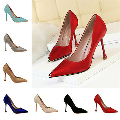 Women Luxury Vintage Stain Banquet Pumps High Heels Point Toe Formal Court Shoes