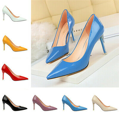 Women Ladies Pointed Toe Court Shoes Patent Leather High Heel Party Office Pumps