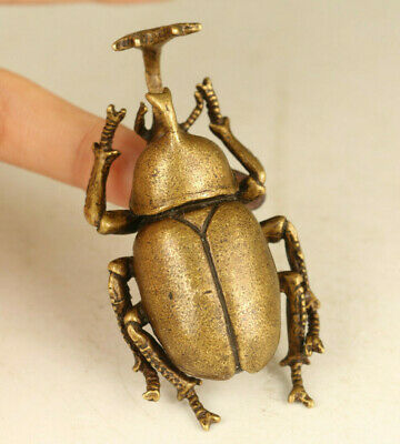 old bronze hand casting beetle statue Tea pet tray table decorate gift