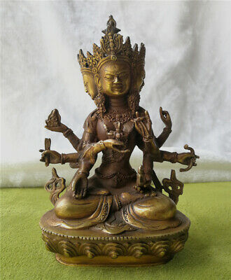 Antiques patina Bronze Statue Magical Buddha Bodhisattva Old carved lucky Statue