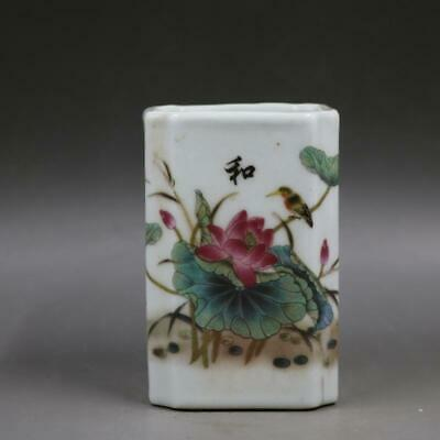 Chinese ancient antique hand make Lotus  Flower and bird  Pen container24