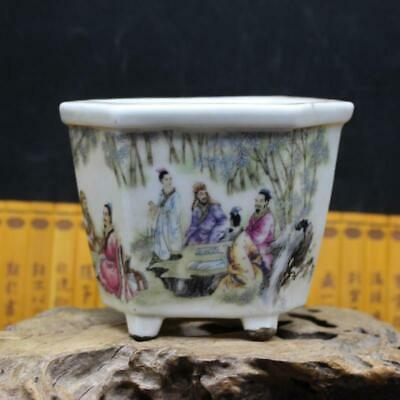 Chinese ancient antique hand make family  Story  The six party  Flowerpot u24