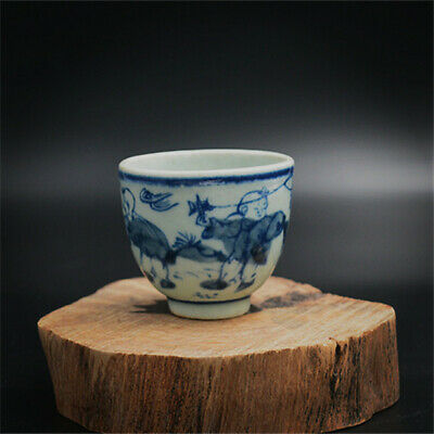 Chinese ancient antique hand make Blue and white small teacup 34