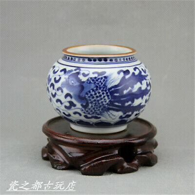 Chinese ancient antique hand make Blue and White Water Pouch39