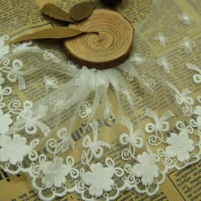 10cm, 1yard Delicate white embroidered flower tulle lace trim Sewing DIY