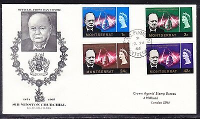 Montserrat 1966 Winston Churchill  First Day Cover to London