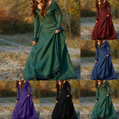 Medieval Renaissance Vintage Women Long Dress Gown Victorian Cosplay Costume