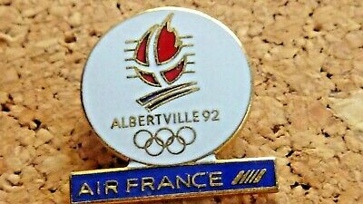 Pin's Pin Badge Avion Air France Albertville Jeux Olympiques