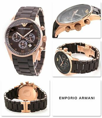 New Genuine Emporio Armani Ar5890 Rose Gold Silicone Chrono Mens Watch Rrp £389