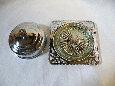 Vintage Chrome Plated Butter Dish