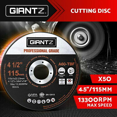 "Giantz 50 x 4.5"" Cutting Disc 115mm Metal Cut Off Wheel Angle Grinder Thin Steel"