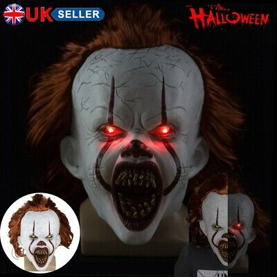 Pennywise LED Mask Stephen King's It Chapter2 Cosplay Scary Joker Prop Halloween