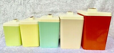 1960's Mid Century Harlequin Complete Set of Plastic Canisters