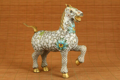 Big old cloisonne hand carved horse statue netsuke figure table home decoration