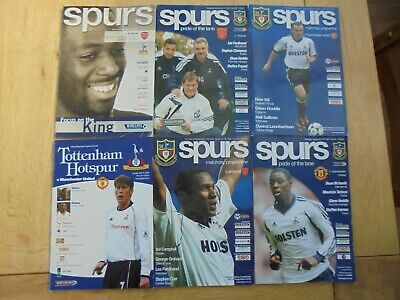 Tottenham Hotspur 6 Home Programme Bundle 2000 - 2004 - Spurs V Man.utd. Arsenal
