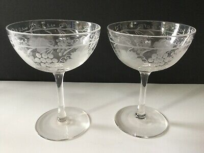 Pair of antique Victorian crystal champagne saucers coupes glasses etched vines